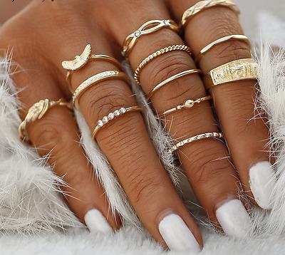 12pcs Gold Mid Midi Finger Ring Set Vintage Punk Boho Knuckle Band Rings Jewelry