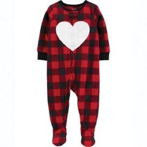 Carter's Red Buffalo Plaid Heart Fleece Blanket Sleeper ...