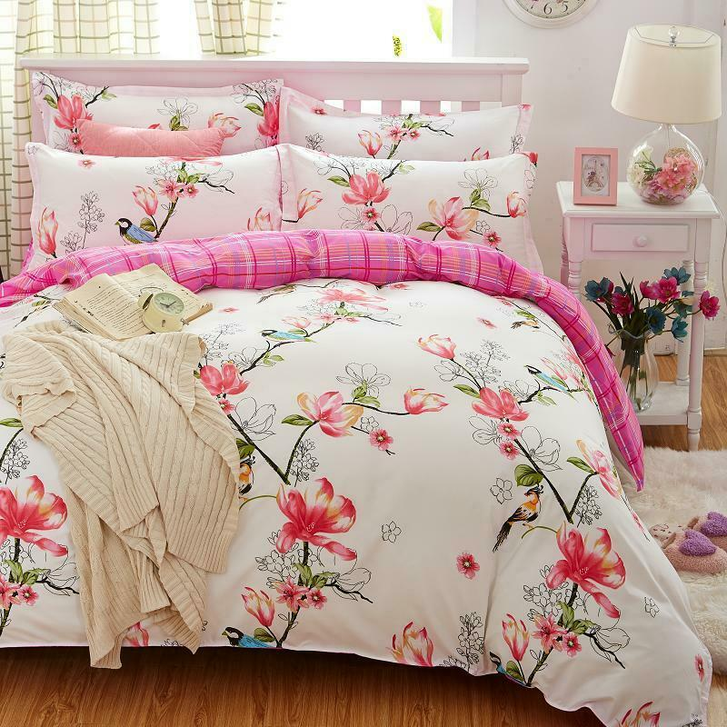 2018 Birds Blooms Flower 4pcs König Königin Bettding Set Bett Linens Duvet Startseite