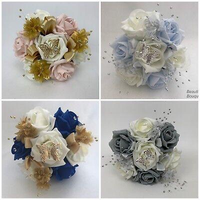 Pearlised Gold Wedding Flowers Bride Bridesmaid Flower Girl Posy Bouquet