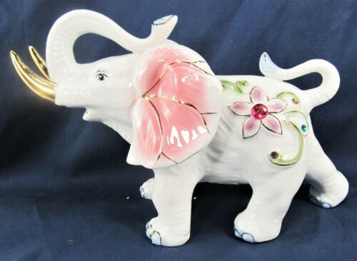 Elephant Ceramic Hand Painted w// Jewels /& Golden Tusks Pink