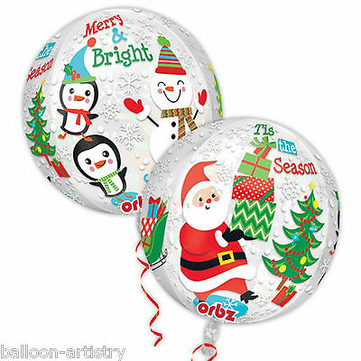 "16"" Cheerful Merry Christmas Friends Party Globe Orb Ball Shape Foil Balloon"