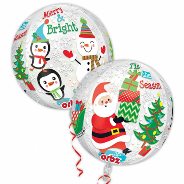 "16"" Cheerful Merry Christmas Friends Party Globe Orb Ball Shape Foil Balloon"