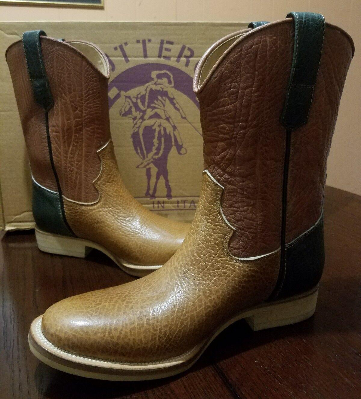 Buttero Hombres Suave Bull OCULTAR Western Cowboy botas Talla EE. UU. 10.5, 44 euros  Hechos en Italia