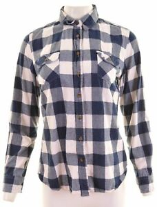 Crew-Clothing-Co-Femme-Chemise-en-flanelle-taille-12-Medium-Blue-Check-Cotton-HP04