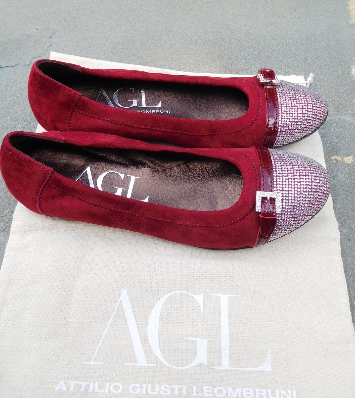 NIB AGL Red Suede Ballet Flats Flats Flats  Rhinestone Toe Caps  Buckle  Patent Strip  38 375597