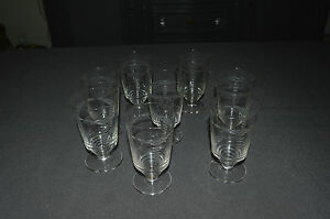 8 verres anciens a vin blanc en verre souffle taille annees 30 40 ebay. Black Bedroom Furniture Sets. Home Design Ideas