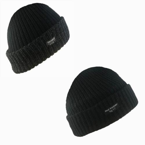 New Mens Thermal Thinsulate Fleece Lined Beanie Ski Hat Black 40Gram 3M