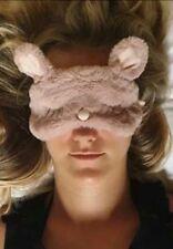 Soft Furry Faux Fur Rabbit Eye Sleeping Mask Pillow Travel Adult Size NEW