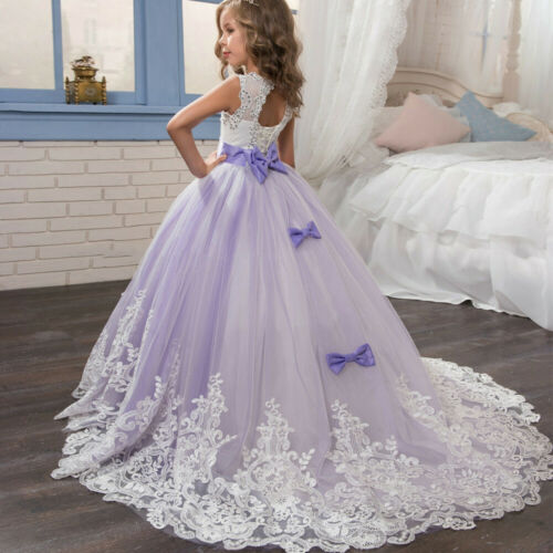 Girls Kid Child Princess Pageant Floral Tutu Lace Tulle Gown Party Wedding Dress