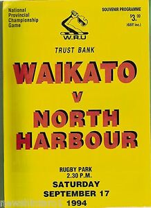 #YY. NEW ZEALAND RUGBY UNION PROGRAM, WAIKATO V NORTH HARBOUR, 17/9/1994