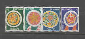 Philippine-Stamps-1990-Christmas-Lanterns-strip-of-4-MNH