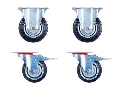 4er-set 75mm roues transport-rôles 2x roues fixes M frein 2x bock-rôles