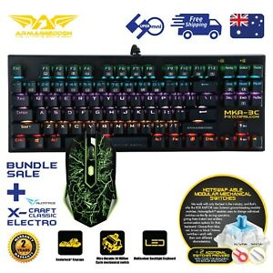Gaming-PC-Keyboard-Mouse-Combo-87-Keys-Mechanical-Blue-Switch-MultiColor-MKA-3C