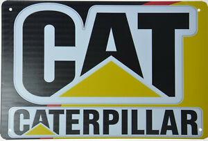 """CAT CATERPILLAR Metal Sign Backhoe Excavator Skid Steer Shop Garage 12x8/"""" NEW"""