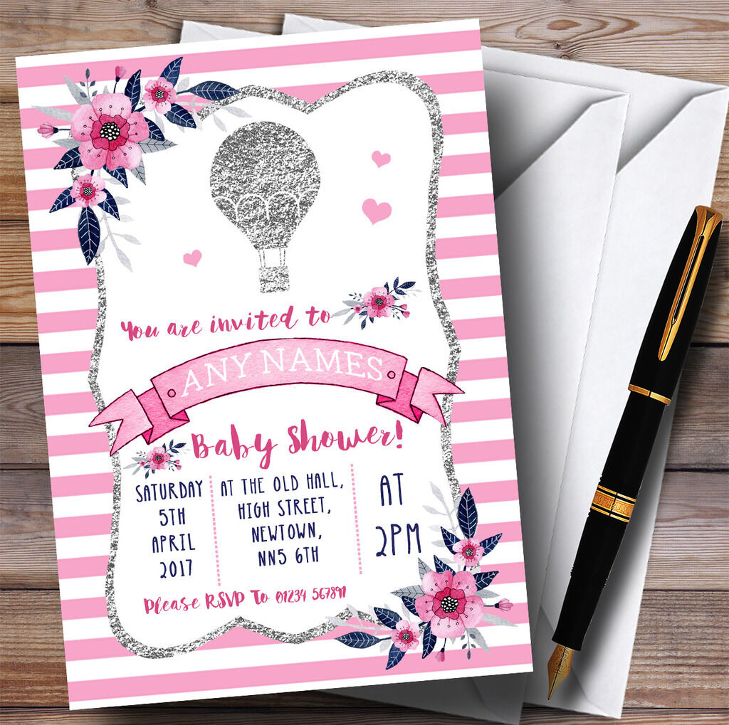 Argent & Baby rose Hot Air Balloon Invitations Baby & Shower Invitations cc4ecf