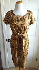 Calvin Klein Dress Size 10 Cheetah Leopard Print Silk Sheath Office Career Work