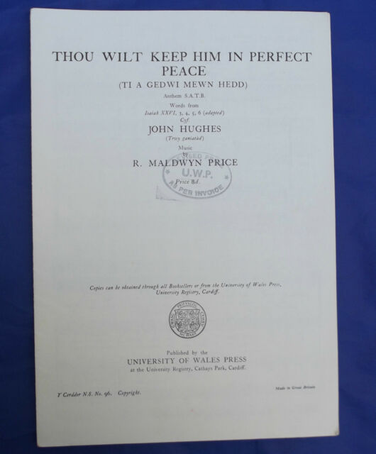 Vintage sheet music WELSH Thou Wilt Keep Him Perfect Peace TI A GEDWI MEWN HEDD