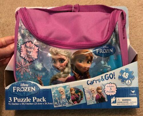DISNEY FROZEN CUTE BAG of 3 PUZZLE PACK 48 PIECES EACH PUZZLE.