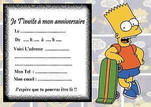 5 cartes invitation anniversaire simpson 01 d 39 autres - Simpson anniversaire ...