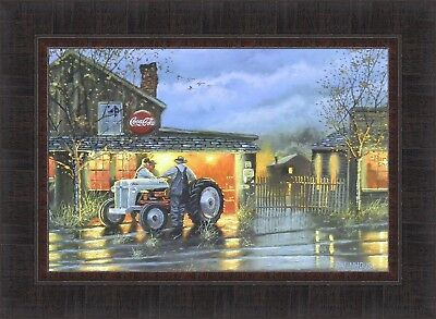 SHOP TALK by Dave Barnhouse 17x23 FRAMED PRINT Tractor Repair Shop Farmers HCD