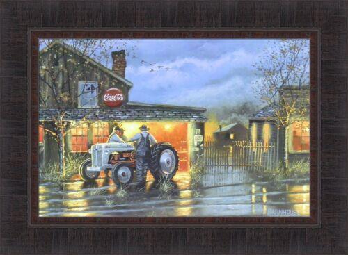 SHOP TALK by Dave Barnhouse 17x23 FRAMED PRINT Tractor Repair Shop Farmers HCD