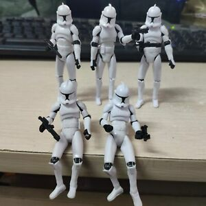 """Lot 5 Star Wars Clone Wars No.5 Clone Trooper 3.75"""" Action Figure with Guns"""
