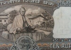 INDIA-Currency-Note-of-10-Indian-Rupees-features-Gandhi-A-FINE-amp-NICE-Note