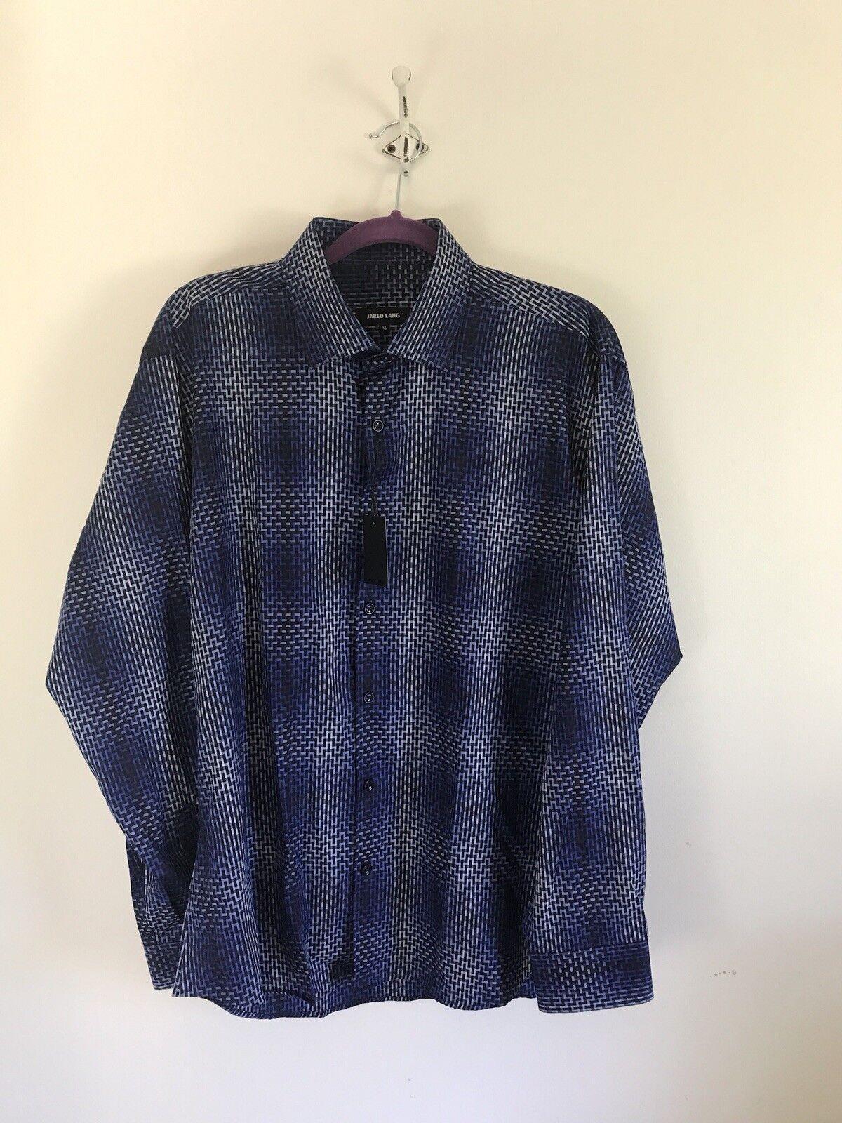 Jared Lang Men's XL bluee Geometric Button Down Shirt NWT