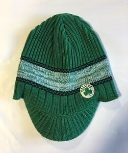 Boston-Celtics-Knit-Beanie-Toque-Skull-Cap-Winter-Hat-NEW-NBA-Green-Visor-Brim