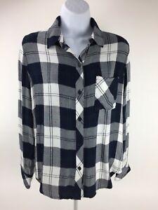 Rails-Hunter-Womens-Flannel-Plaid-Shirt-Size-X-Small-Navy-Blue-White-Pine