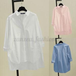 ZANZEA-Femme-Affaire-Basic-Chemise-Asymetrique-Manche-Longue-Boutons-Haut-Shirt