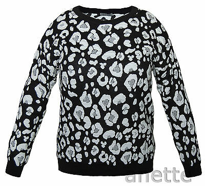 Leopard Pattern Womens Jumper New SOUTH Ribbed Trim Cotton Acrylic Blend BNWT