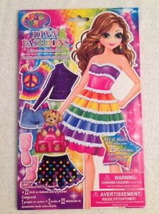 LISA FRANK Diva Fashions Dress-up Paper Doll Sticker Clothes BRAND NEW Sealed