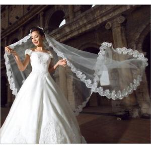 Spitze-Anmutige-Blume-Rand-Braut-Hochzeit-Mantilla-Braut-Lange-Schleier-Weiss-YR