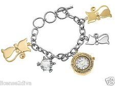 "CAT BRACELET WATCH! GENEVA! WHITE CRYSTAL WATCH KITTY KITTENS STAINLESS! 8""L."