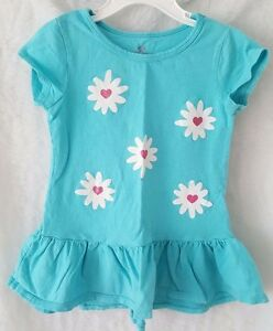 Okie-Dokie-Girls-Blue-Pink-White-Floral-Shirt-Top-Blouse-Size-5T