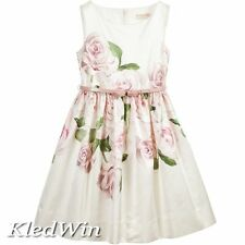 NWT MONNALISA CHIC Ivory Satin Dress with Pink Rose Print Size 8 Y 128