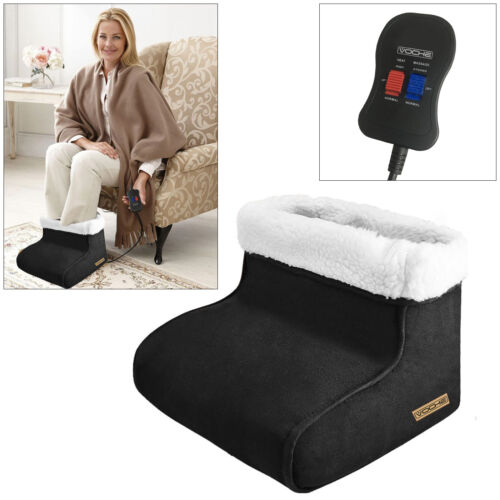 VOCHE® ELECTRIC HEATED FLEECE FOOT WARMER + MASSAGER MASSAGING BIG SLIPPER BLACK