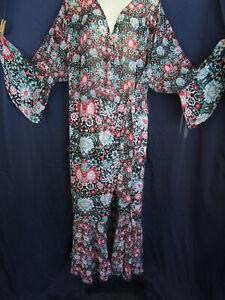 BOLD Floral Boho Hippie Flounce Sleeve Ruffle Tier Wrap Sheer Robe Dressing Gown