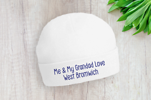 West Brom Me and My Grandad Love Albion Baby Beanie Hat Navy Text Gift Baby