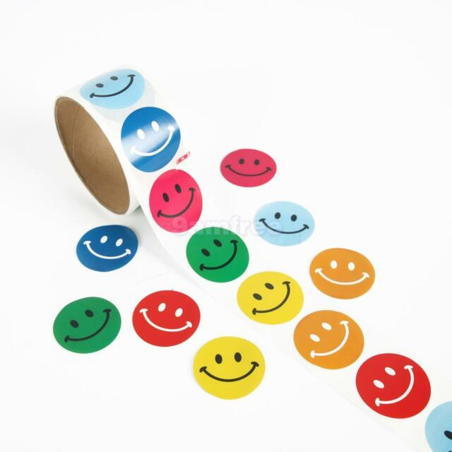 2 Rolls of Smile Smiley Face Paper Stickers Kids Scrapbooking Craft Party Favors