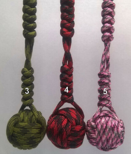 """PARACORD MONKEY FIST KNOT KEYCHAIN 1/"""" STEEL BALL MANY COLORS TO CHOOSE FROM USA!"""