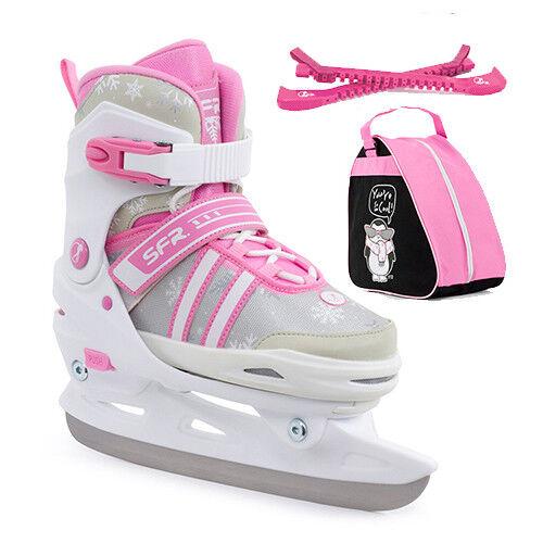 SFR Nova Adjustable Ice Skates Children/'s Girl/'s White//Pink Optional Skate Bag
