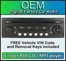 Citroen Berlingo Auto Stereo MP3 reproductor de CD RADIO CITROEN RD4 Código De Bastidor + Gratis