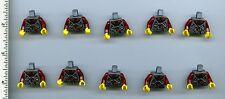 LEGO x 10 Dark Bluish Gray Torso Viking Armor with Leather Collar and 3 Waist