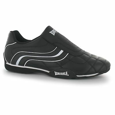 lonsdale camden slip on trainers mens black/white casual