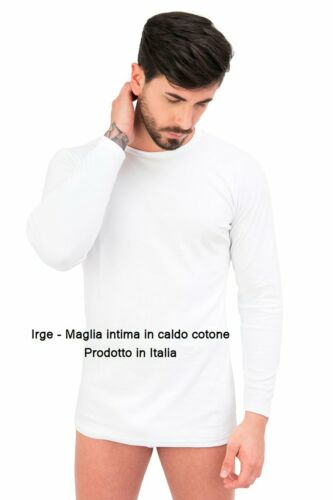 2 Maglie Intime UOMO in Caldo Cotone da sotto Manica lunga Nota Marca Italiana