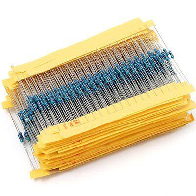 1/4W 0.25W metal film resistor 1R~910R ohm five color ring resistance ±1% 1000pc