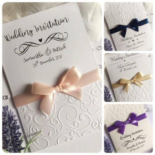 Wedding Evening Invitations Personalised EMBOSSED vertical folded bow